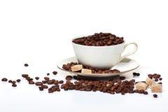 Kawa i cukier, filiżanka kawy Fotografia Stock