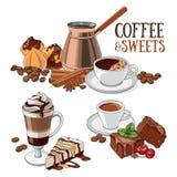 Kawa i cukierki Zdjęcia Royalty Free