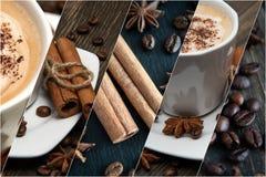 Kawa i cynamon Kompilacja dekoracja elementy zdjęcie stock