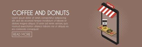 Kawa i donuts online sklepowy pojęcie Isometric telefon witryny sklepowej ilustracja Sieć sztandaru szablon Fotografia Royalty Free