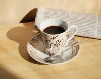 Kawa i gazeta Obraz Stock