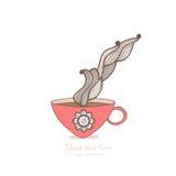 kawa i herbaciany kubek z kwiecistym wzorem Filiżanki tło Gorący drin Obrazy Royalty Free