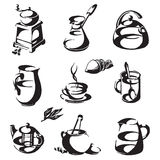 Kawa i herbata na białym tle ikony Obrazy Stock