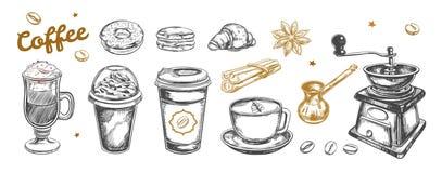 Kawa i kawa iść set Wektorowa ręka rysująca Ilustracja Wektor