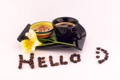Kawa i kwiaty Zdjęcie Royalty Free