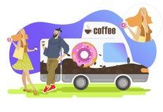 Kawa i pączek ilustracja wektor