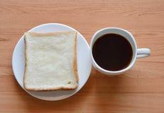 Kawa i plasterka chleb Zdjęcie Stock