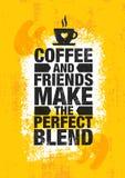 Kawa I przyjaciele Robimy Perfect mieszance Inspirować Cukiernianej dekoraci motywaci wycena plakata Kreatywnie szablon obraz royalty free