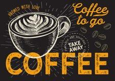 Kawa i?? r?ka rysuj?ca ilustracja dla restauracji zdjęcia stock