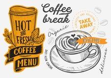 Kawa i?? r?ka rysuj?ca ilustracja dla restauracji obraz royalty free