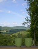 Kawa i widok Obrazy Royalty Free