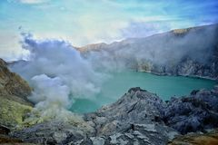 Kawa Ijen Crater Stock Photo