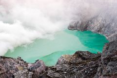 Kawa Ijen Volcano crater and lake. Kawa Ijen Volcano crater and lake Stock Images