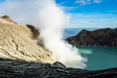 Kawa Ijen Volcano and lake in sunrise View at Indonesia.. Kawa Ijen Volcano and lake in sunrise View at Indonesia Royalty Free Stock Photo