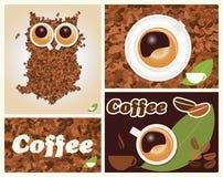 Kawa inspirował ilustracje, z sową, kawowe fasole Fotografia Stock