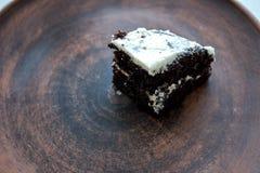 kawałka tortowy czekoladowy talerz Fotografia Stock