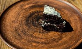 kawałka tortowy czekoladowy talerz Zdjęcie Stock