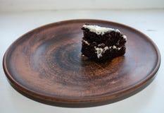 kawałka tortowy czekoladowy talerz Zdjęcia Stock