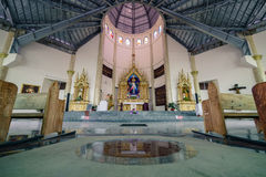 Kawa Kawa Catholic Shrine. Legazpi city, Philippines. November 3, 2016: Empty and peaceful church in Legazpi Kawa Kawa Shrine Stock Images