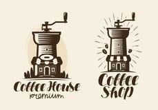 Kawa, kawa espresso logo lub etykietka, ilustracja wektor