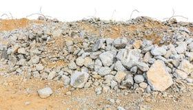Kawałki betonowi i ceglani gruzowi gruzy na budowie Zdjęcie Stock