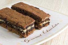 Kawałki czekoladowy tort z czekolada proszkiem Obraz Royalty Free