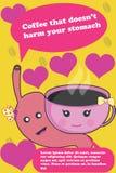 Kawa który no krzywdzi twój zdrowie kolorowego plakata Ilustracja Wektor