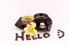Kawa, śmietanka i kwiaty, Obraz Royalty Free