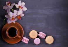 Kawa, orchidee, tortowy macaron i macaroon na szarym tle od above, Obraz Royalty Free