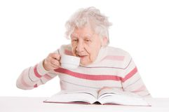 kawa pije babci Zdjęcia Royalty Free