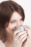 kawa pije herbacianej kobiety Zdjęcia Stock