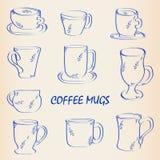 kawa rysująca ręki ikona napadać na kogoś set Fotografia Stock