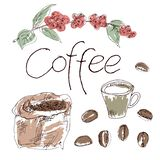 Kawa set rysuje ręką fotografia stock