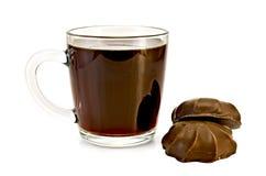 Kawa w szklanym kubku z marshmallow zdjęcia stock