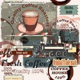 Kawa wzór w retro stylu z retro etykietkami i punktami Zdjęcie Royalty Free