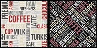 Kawa wzór z tekstem w retro stylu, kaw słów wzór Zdjęcie Stock