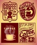 Kawa wzory z inskrypcjami w retro stylu ilustracji