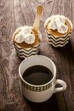 Kawa z babeczkami Zdjęcie Stock