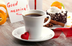 Kawa z czerwonym sercem Fotografia Royalty Free