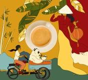 Kawa z kolorowym chińskim tematem Fotografia Stock