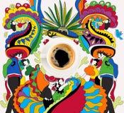 Kawa z kolorowym meksykańskim tematem Obrazy Stock