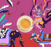 Kawa z kolorowym meksykańskim tematem Fotografia Stock