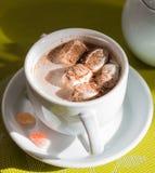 Kawa z marshmallows z pianą w białej filiżance i Zdjęcia Stock