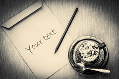 Kawa z notatkami, czarny i biały Zdjęcie Stock