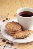 Kawa z oatmeal ciastkami Zdjęcia Royalty Free
