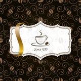 Kawa z złotym faborku i rocznika wzorem Zdjęcia Stock