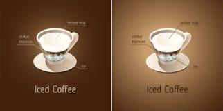 kawa zamrażająca Filiżanka z składnikami napój royalty ilustracja