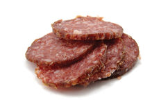 kawałek salami odizolowana sterta Obraz Stock