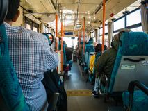Interior of the Omni bus. Kawaguchi, Japan - April 20, 2017: Kawaguchiko Station, interior of the Omni bus,this bus traveling around Lake Kawaguchiko and Lake royalty free stock photo