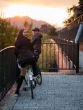 Tourist with bicycle. Kawaguchi, Japan - November 1, 2018: Tourist with bicycle near lake Kawaguchi, Japan for sightseeing royalty free stock images